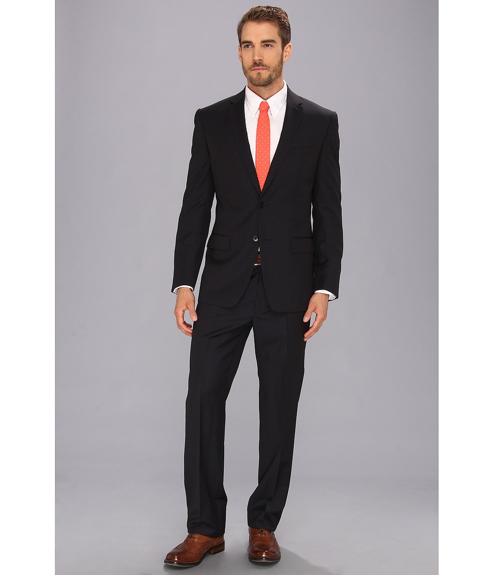 John Varvatos Star U.S.A. - Filmore - 2 Button Notch Suit (Navy Stripe) Men's Suits Sets