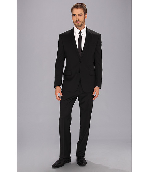 John Varvatos Star U.S.A. - Filmore - 2 Button Notch Suit (Black Solid) Men's Suits Sets