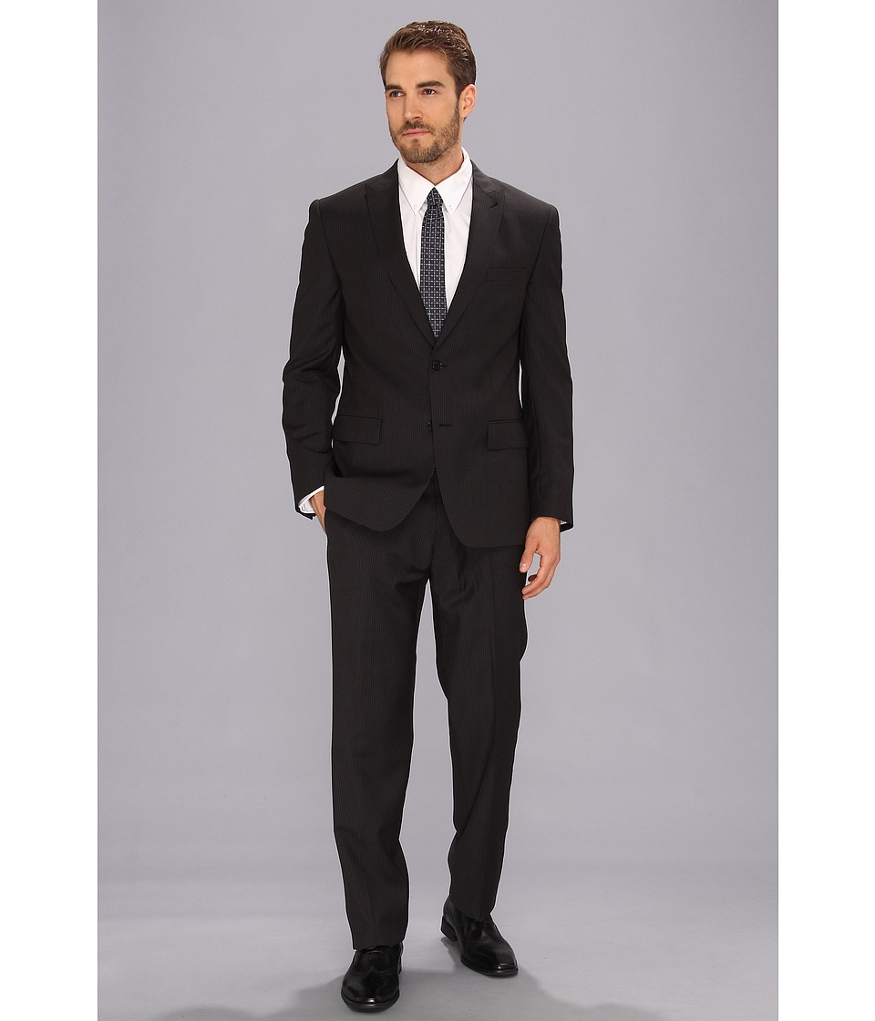 John Varvatos Star U.S.A. - Berkley - 2 Button Peak Suit (Black Stripe) Men's Suits Sets