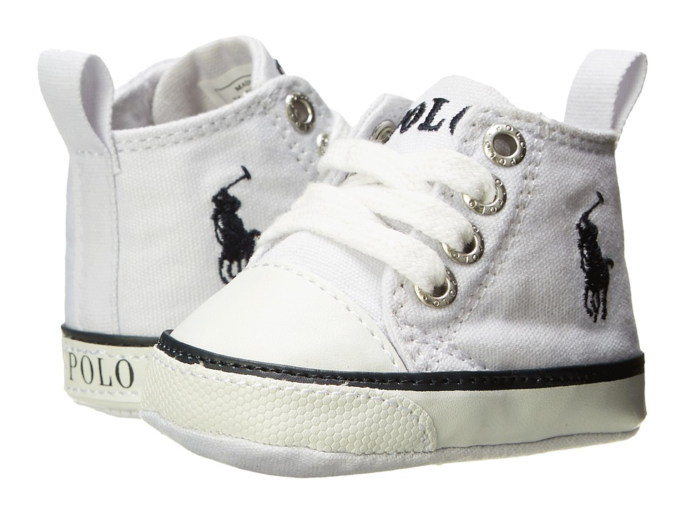 Polo Ralph Lauren Kids - Harbour Hi (Infant/Toddler) (White Canvas/Navy) Boys Shoes