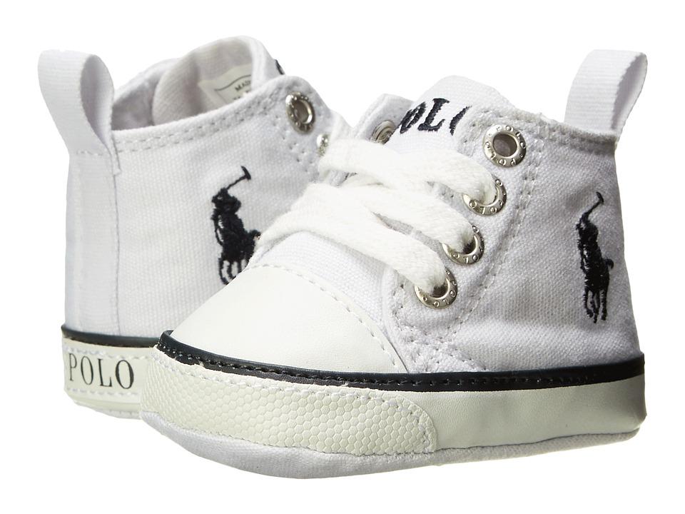 Polo Ralph Lauren Kids - Harbour Hi (Infant/Toddler) (White Canvas/Navy) Boys Shoes