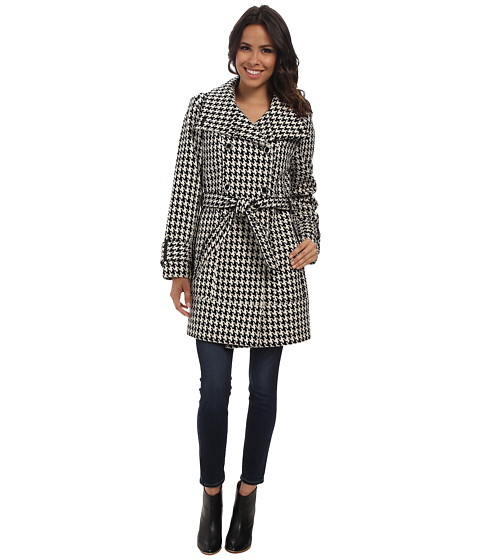Calvin Klein - DB Belted Convertible Stand Collar Wool Trench Houndstooth (Black/White) Women