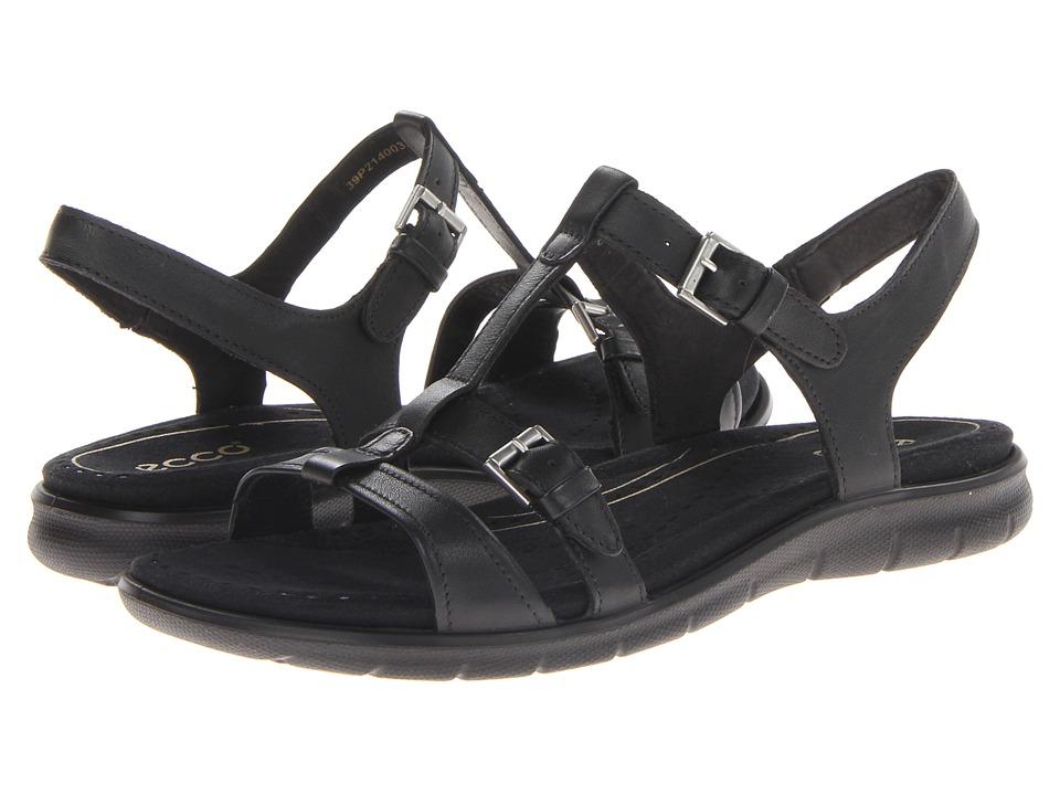 ECCO Babette Sandal T-Strap (Black Feather) Women