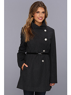 SALE! $102.01 - Save $158 on Jessica Simpson Fencer Collar w Hard Bow Belt Coat (Charcoal) Apparel - 60.77% OFF $260.00