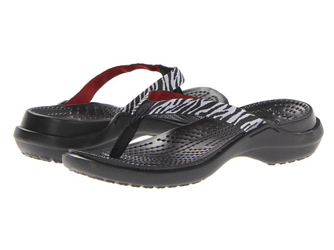 Crocs - Capri Webbing Zebra (Black/White) Women