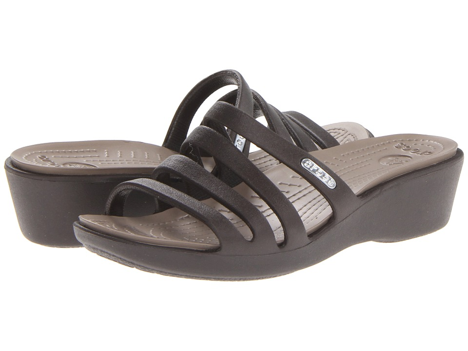 Crocs - Rhonda Wedge Sandal (Espresso/Mushroom) Women's Sandals