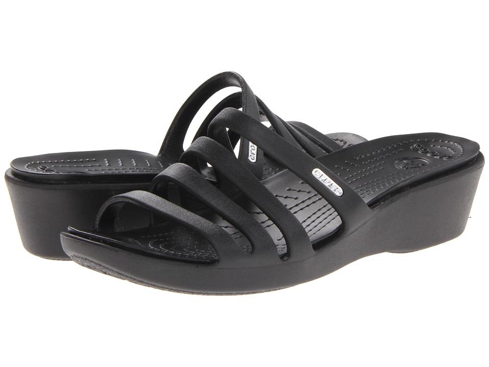 Crocs - Rhonda Wedge Sandal (Black/Black) Women's Sandals