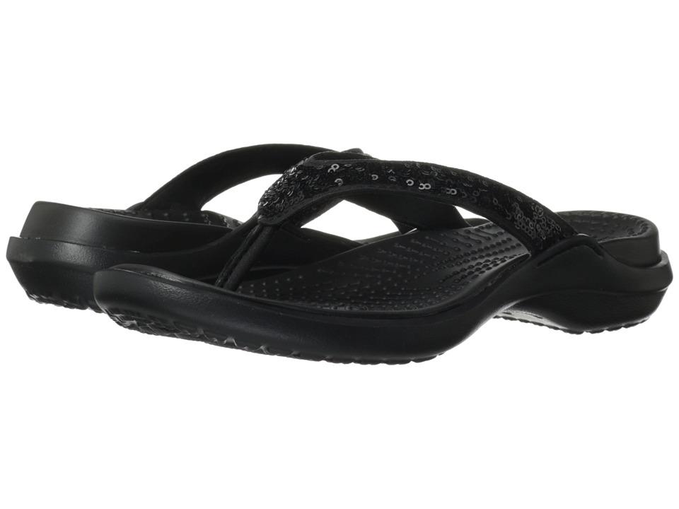 Crocs - Capri Sequin Sandal (Black/Black) Women