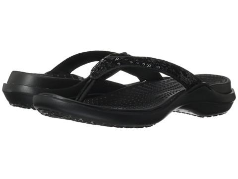 5884c486a09 ... Flip Flop Sandals for Ladies - Black  UPC 887350106961 product image  for Crocs Capri Sequin Sandal (Black Black Cow Silk)