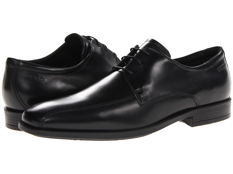 ECCO - Edinburgh Bike Toe Tie (Black Santiago) Men's Slip-on Dress Shoes