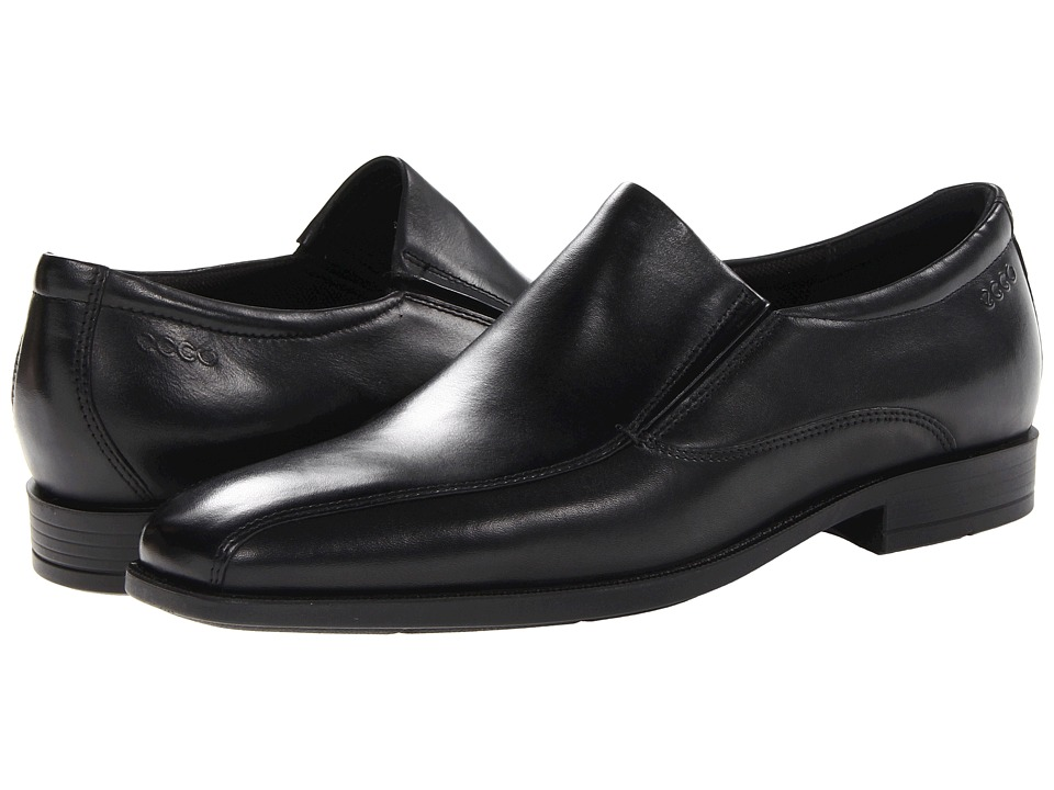 ECCO - Edinburgh Bike Toe Slip On (Black Santiago) Men's Shoes