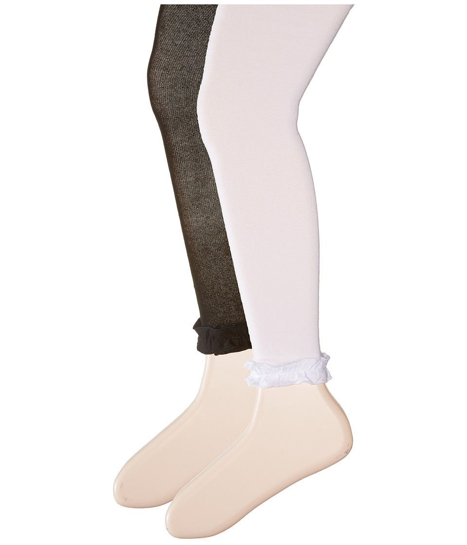 Jefferies Socks - Pima Cotton Ruffle Footless Tights 2-Pack (Infant/Toddler/Little Kid/Big Kid) (Black/White) Hose