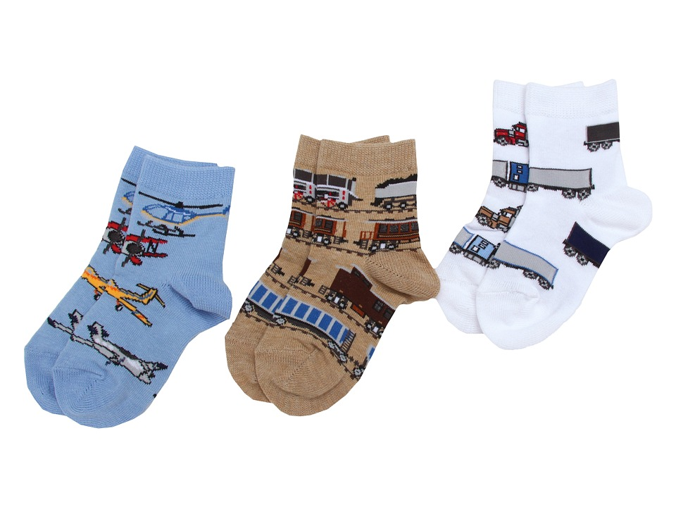 Jefferies Socks - Transportation Triple Treat 3-Pack (Infant/Toddler/Little Kids) (Burlap/White/Blue) Boys Shoes
