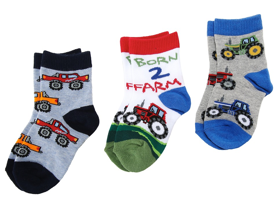 Jefferies Socks - Born 2 Farm Triple Treat (Infant/Toddler/Little Kids) (Farmer) Boys Shoes