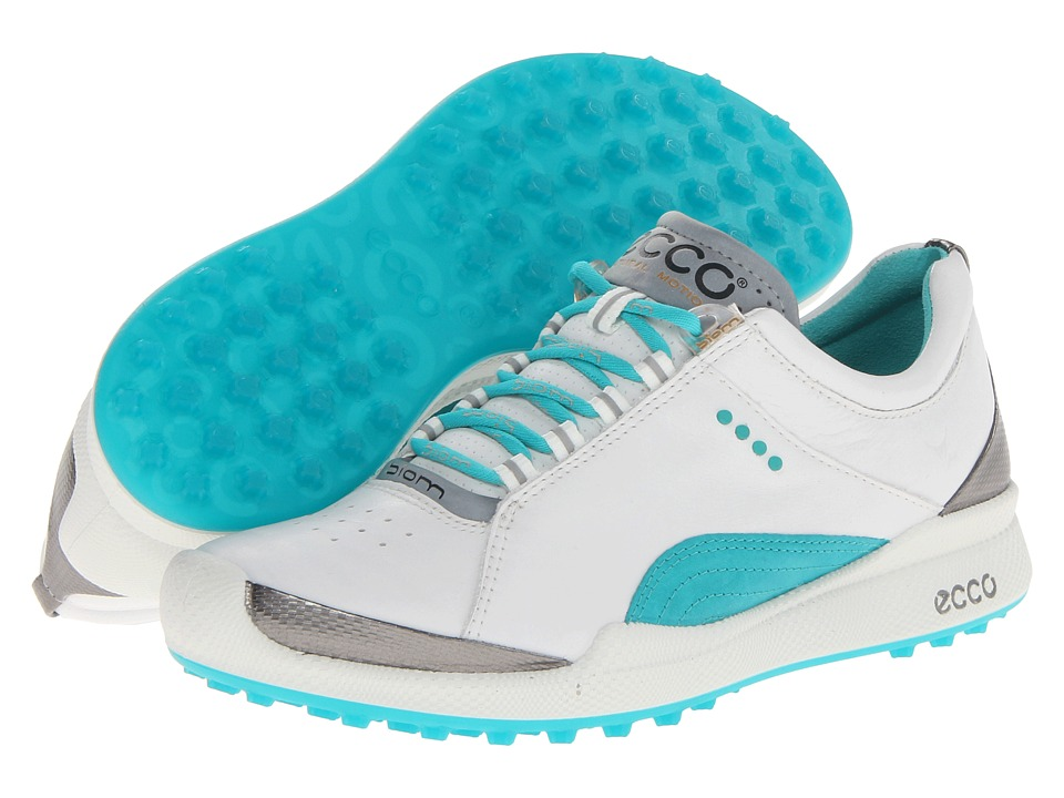 ECCO Golf - Biom Golf Hybrid (White/Turquoise Biom Yak Ultimate Runners) Women's Golf Shoes