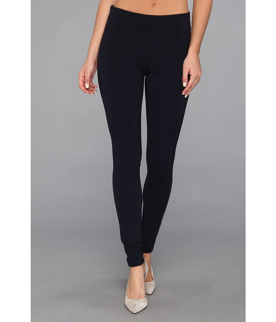 HUE - Ponte Double-Knit Leggings (Navy) Women's Casual Pants