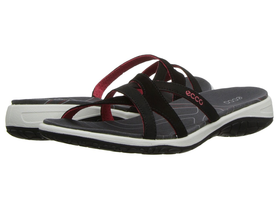 ECCO Sport - Kawaii Sandal II (Black/Black/Dark Shadow Starbuck/Suede/Decoration) Women's Sandals