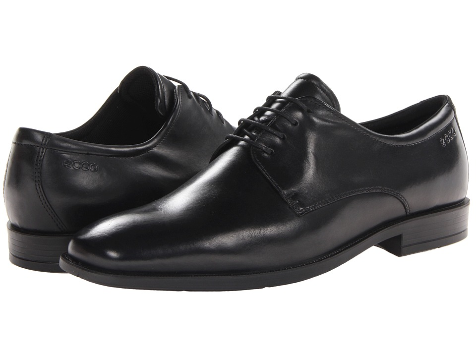 ECCO - Edinburgh Plain Toe Tie (Black Santiago) Men's Shoes