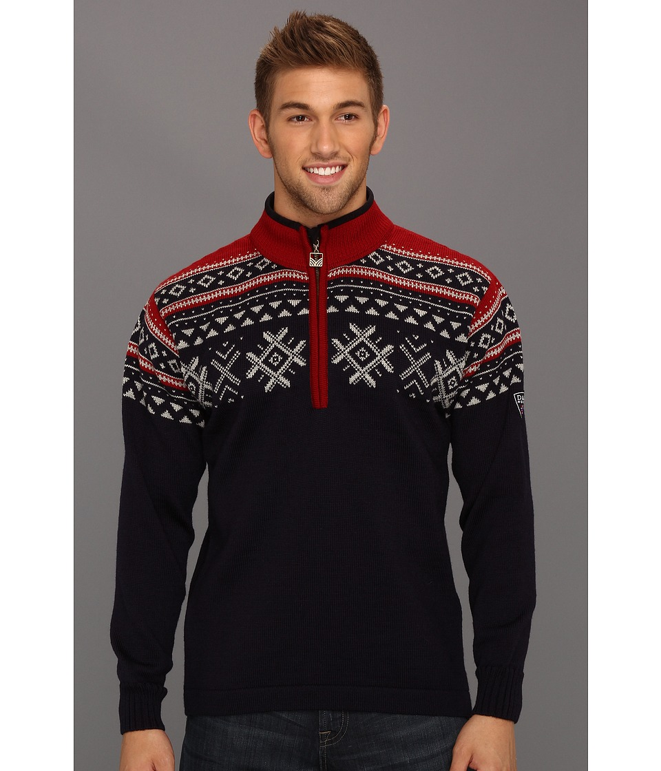 Dale of Norway - Dovre (C-Navy/Light Charcoal/Red Rose) Men's Sweater