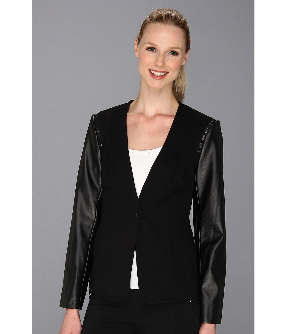 Vince Camuto - Pleather Sleeve Jacket (Rich Black) Women's Jacket