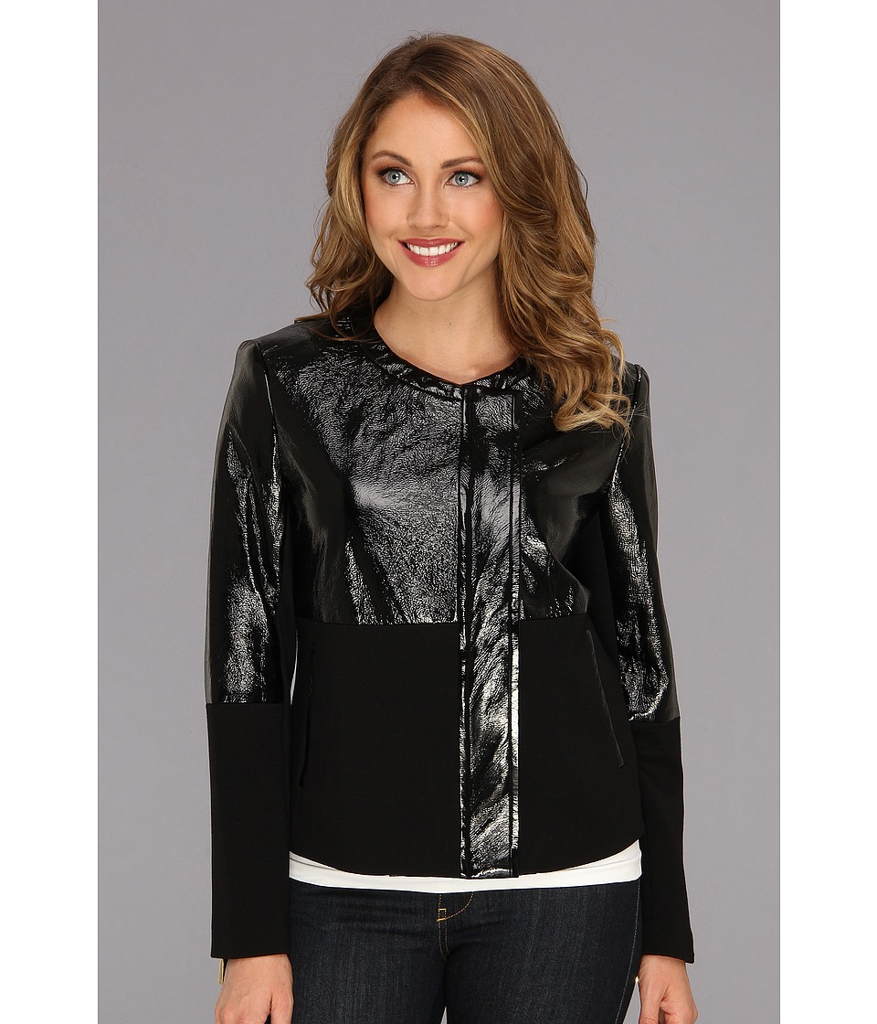 Vince Camuto - Patent Ponte Side Zip Jacket (Rich Black) Women's Jacket