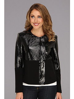 SALE! $89.99 - Save $109 on Vince Camuto Patent Ponte Side Zip Jacket (Rich Black) Apparel - 54.78% OFF $199.00
