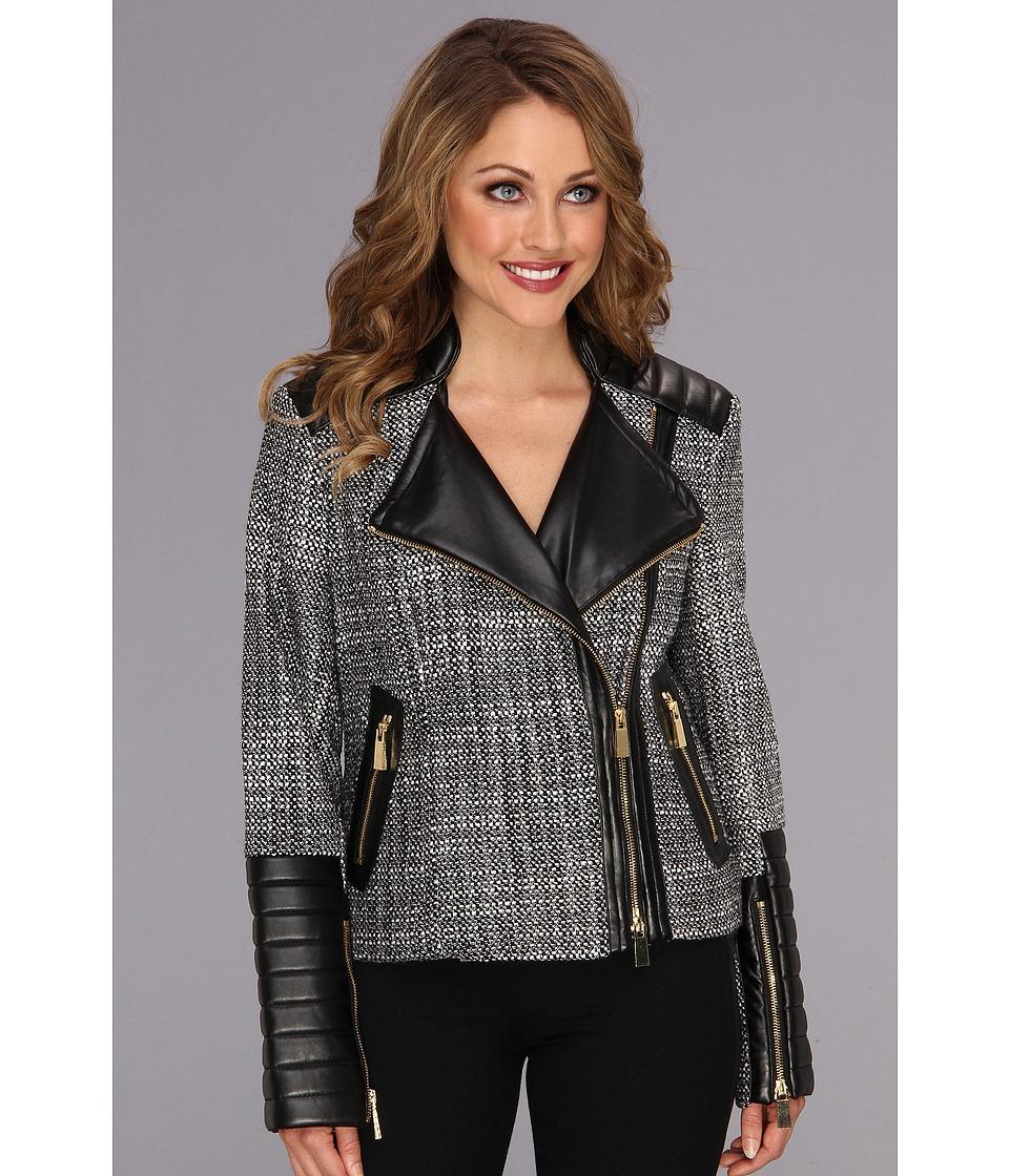 Vince Camuto - Zipper Tweed Moto Jacket (Rich Black) Women's Jacket