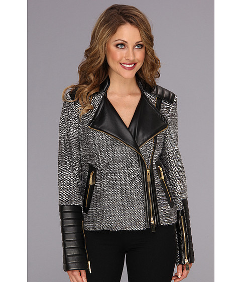 Vince Camuto - Zipper Tweed Moto Jacket (Rich Black) Women's Jacket