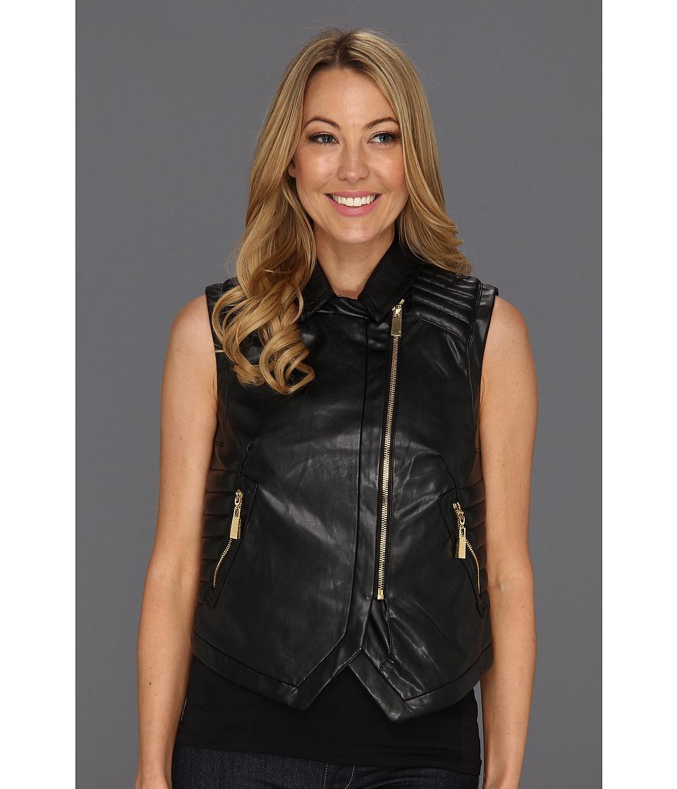 Vince Camuto - Pleather Moto Jacket (Rich Black) Women's Jacket