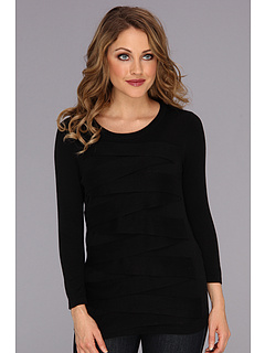 SALE! $36.99 - Save $52 on Vince Camuto 3 4 Sleeve Zig Zag Sweater (Rich Black) Apparel - 58.44% OFF $89.00
