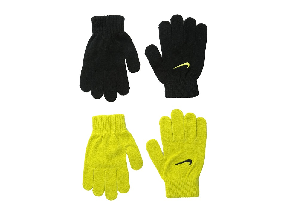 Nike Kids - Magic Glove Set (Big Kids) (Black/High Voltage) Extreme Cold Weather Gloves