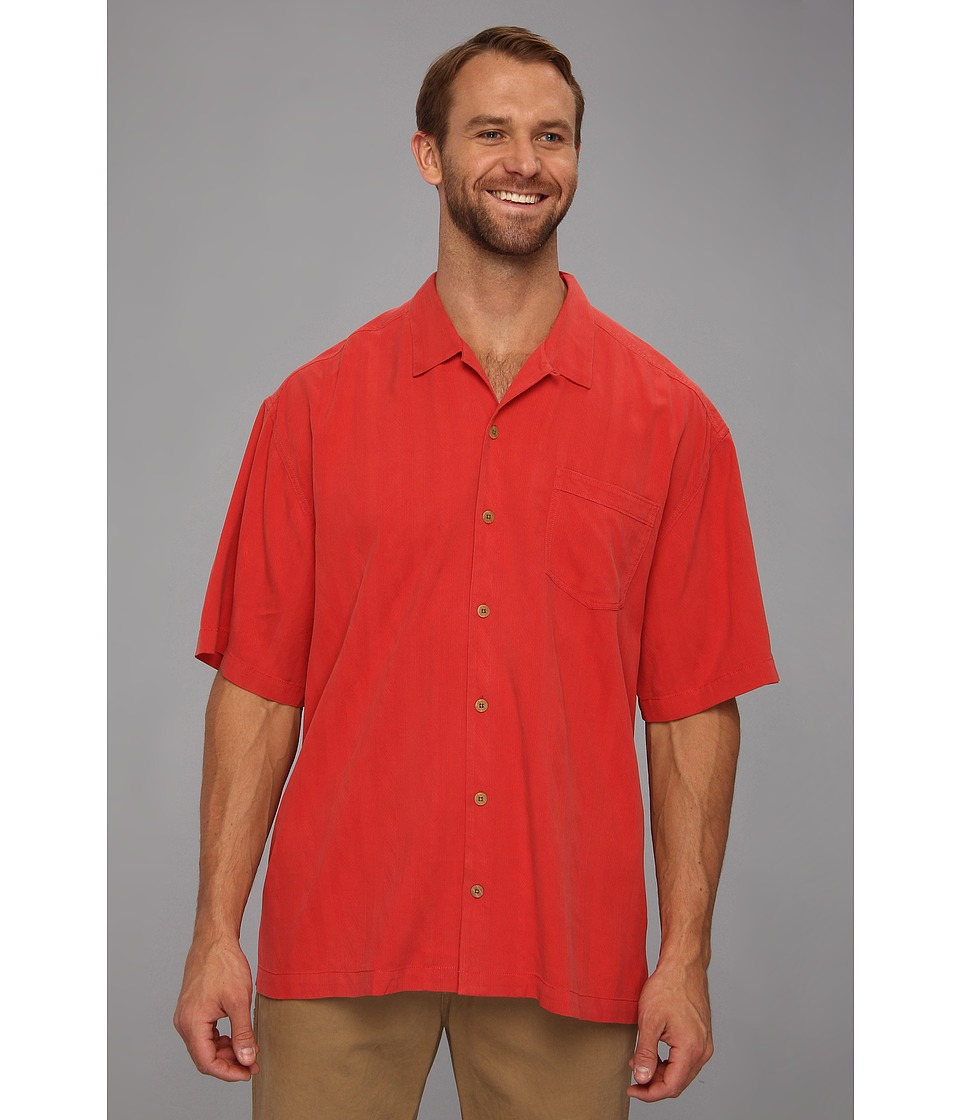 Tommy Bahama Big & Tall Big Tall Sand Crest Stripe Camp Shirt Mens Short Sleeve Button Up (Red)