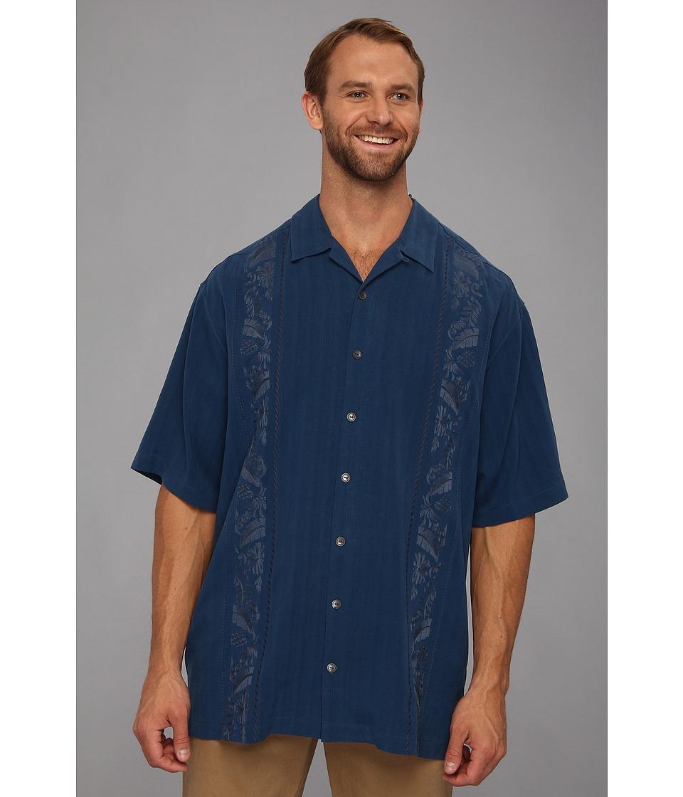 Tommy Bahama Big & Tall Big Tall Path To Raj Camp Shirt Mens Short Sleeve Button Up (Blue)