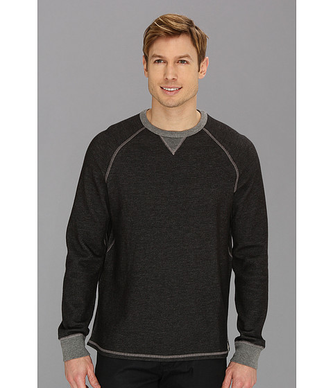 Tommy Bahama Denim - Island Modern Fit Reversible Bob Twillin Raglan Sweatshirt (Black) Men