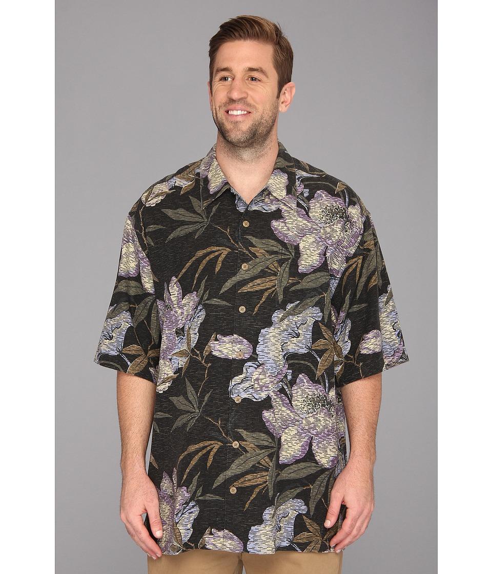 Tommy Bahama Big & Tall Big Tall Kaftan Floral Camp Shirt Mens Short Sleeve Knit (Black)