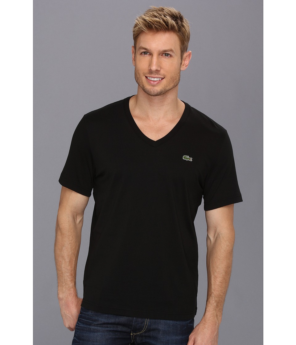 Lacoste - L!VE Short Sleeve V-Neck T-Shirt (Black) Men's T Shirt