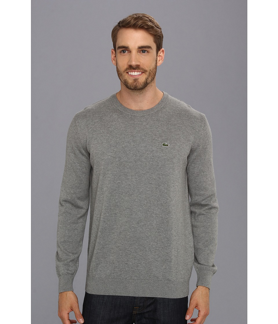 Lacoste - Cotton Jersey Crewneck Sweater (Husky Grey/Black-White) Men's Sweater