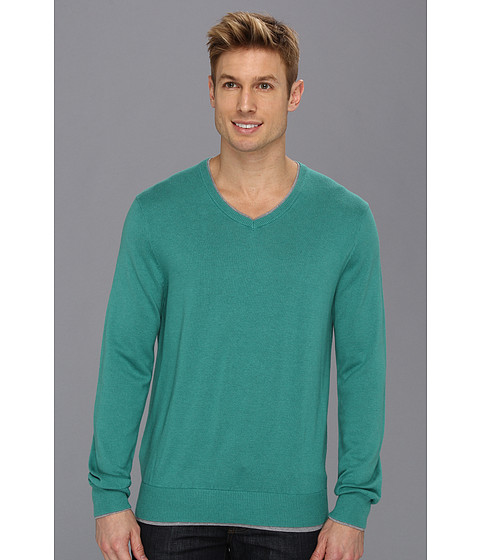 Perry Ellis - Double Layer V-Neck Sweater (Light Spruce) Men