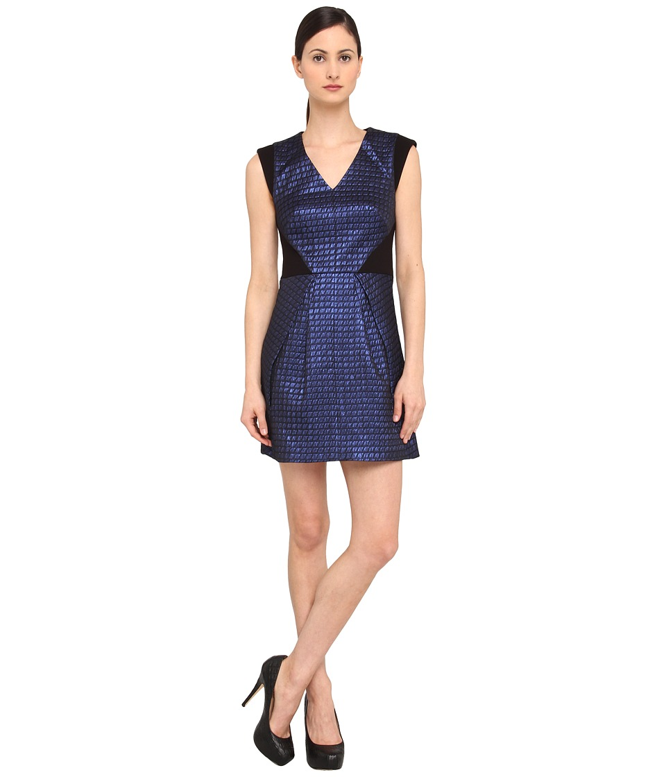 tibi - Quilted Lurex Jacquard V-Neck Dress W/ Ponte Combo (Cobalt Multi) Women's Dress