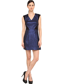 SALE! $236.99 - Save $158 on Tibi Quilted Lurex Jacquard V Neck Dress W Ponte Combo (Cobalt Multi) Apparel - 40.00% OFF $395.00