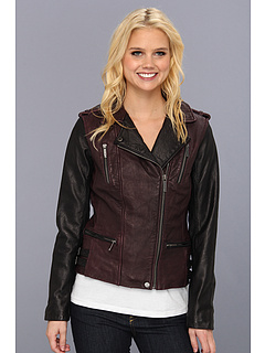 SALE! $169.99 - Save $170 on MICHAEL Michael Kors Color Block Leather Jacket M62012A (Black Burgundy) Apparel - 50.00% OFF $340.00
