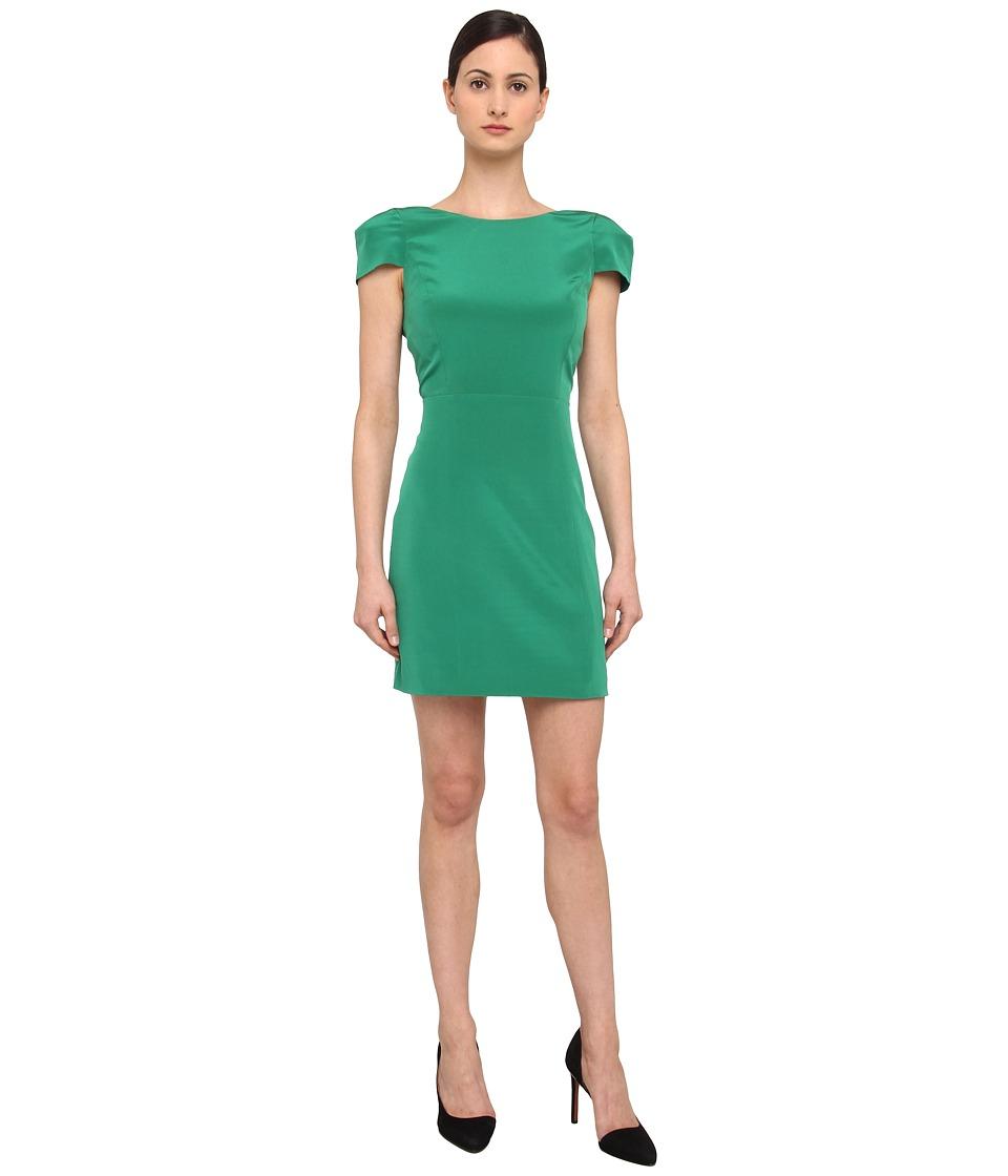 tibi Solid Heavy Silk CDC Cap Sleeve Dress Womens Dress (Green)