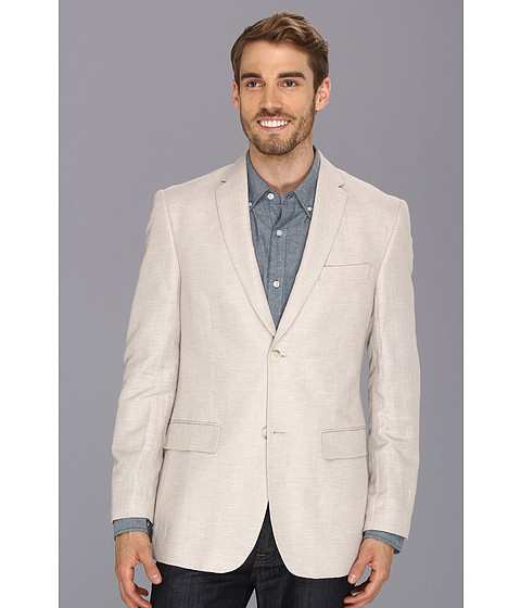 Perry Ellis - Linen Cotton Herringbone Jacket (Natural Linen) Men's Jacket