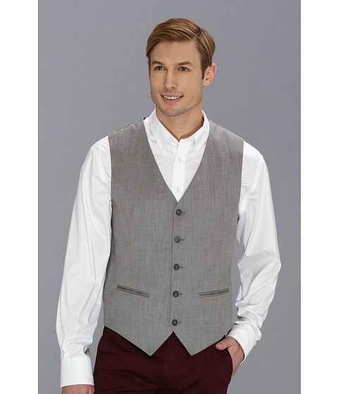 Perry Ellis - Textured Suit Vest (Brushed Nickel) Men