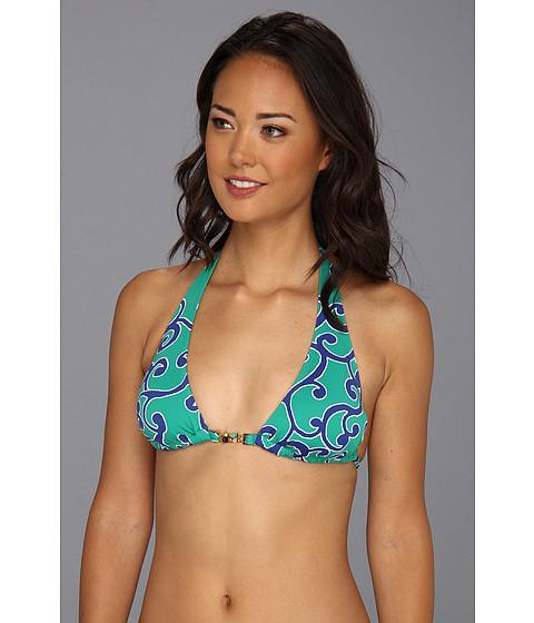 Tommy Bahama - Ocean Swirl Halter Cup Bra w/ Front Beads (Parakeet Green/Surf Blue) Women's Swimwear