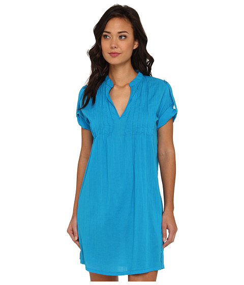 LAUREN by Ralph Lauren - Crushed Cotton Cover-Up S/S Darcy Tunic (Deep Turquoise) Women