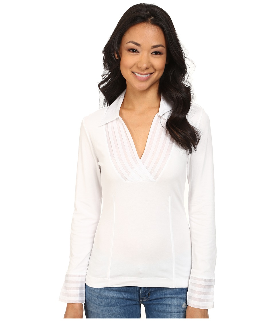 NIC+ZOE - Pleated V Top (Paper White 2) Women's Long Sleeve Pullover