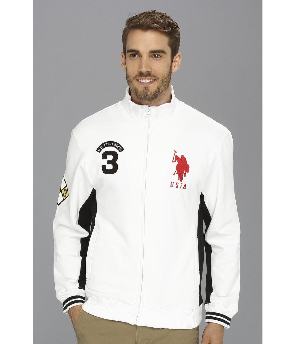 U.S. POLO ASSN. - Fleece Full Zip Long Sleeve Track Jacket (White) Men