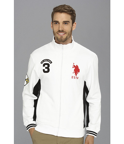 U.S. POLO ASSN. - Fleece Full Zip Long Sleeve Track Jacket (White) Men