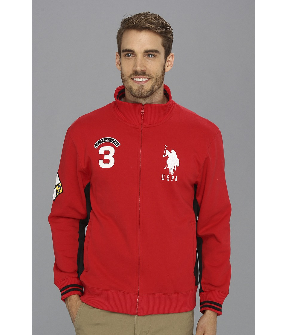 U.S. POLO ASSN. - Fleece Full Zip Long Sleeve Track Jacket (Engine Red) Men